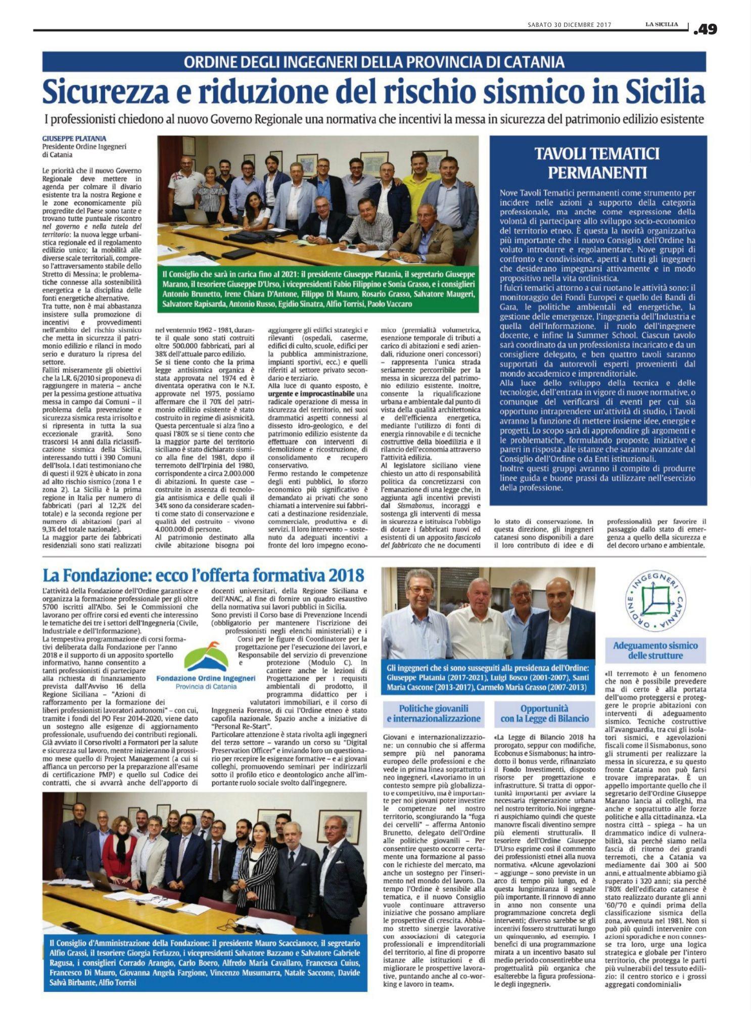 Sicurezza e riduzione dei rischio sismico in Sicilia